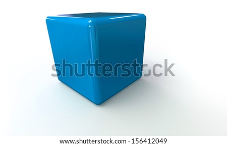 cyan blue cube in 3d isolated on white