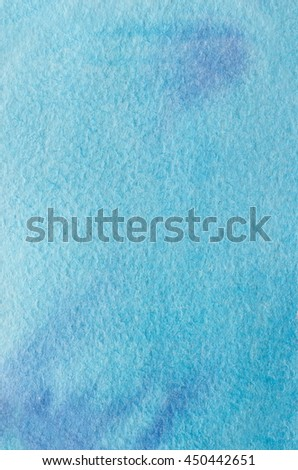 Cyan blue, violet hand drawn abstract watercolor background. Space for text, lettering, copy. Postcard template. - stock photo