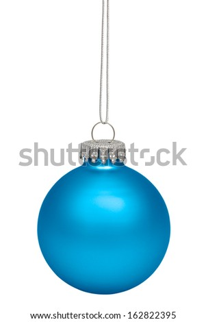Cyan christmas ball isolated on white background