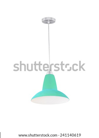 Cyan hanging lamp isolated on white background. - stock photo