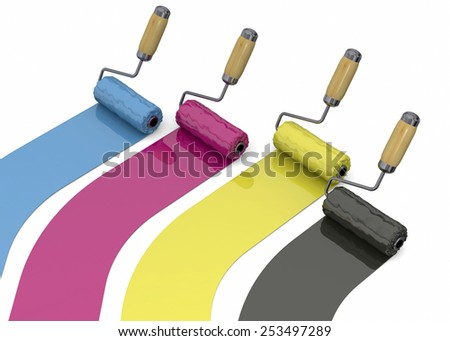 Cyan, magenta, yellow and black roller - stock photo