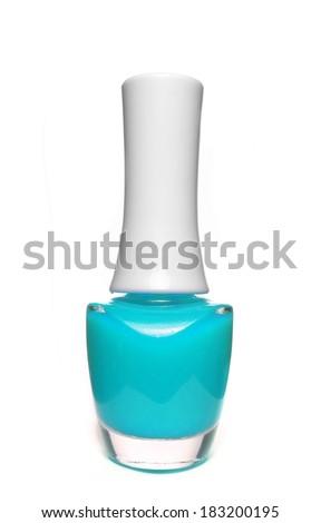 cyan nail polish bottle on white background - stock photo
