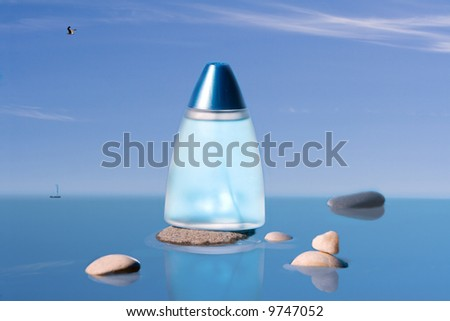 Cyan phial and  several stones in the water. - stock photo