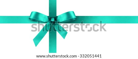 Cyan Satin Gift Ribbon with Decorative Bow - Horizontal Panorama Banner - Christmas, Easter, Birthday and Valentine Decor - Isolated on White Background - For Gift Coupon, Gift Certificate and Bonus - stock photo