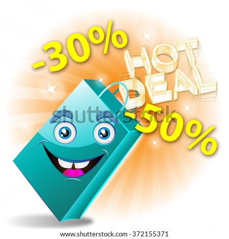 cyan shopping bag with funny face - hot deal - stock photo