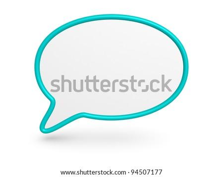 Cyan speech bubble - stock photo