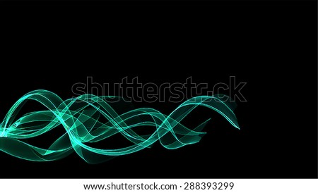 Cyan waves on black background. Raster version  - stock photo