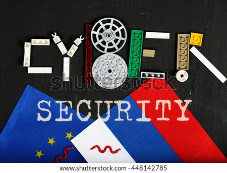 Cyber attack.Two flags of EU and Russia. Top view - stock photo