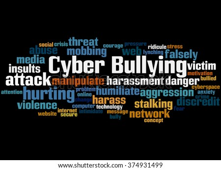 Cyber Bullying, word cloud concept on black background.