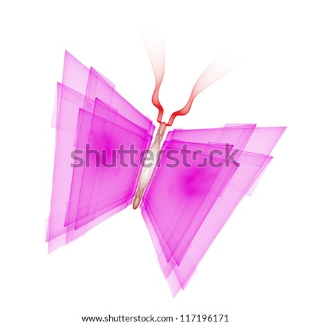 Cyber butterfly isolated on a white background - stock photo
