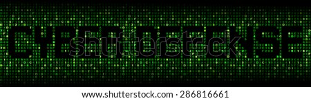 Cyber Defense text on hex code illustration - stock photo
