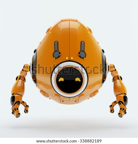 Cyber egg character/ Stylish robotic egg bot creature - stock photo