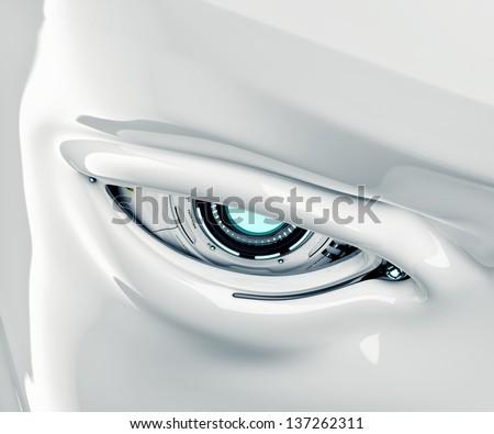 Cyber eye closeup with signs / Robotic eye - stock photo