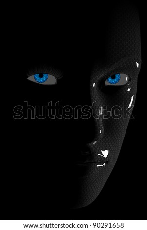 Cyber Face with blue Eyes - stock photo