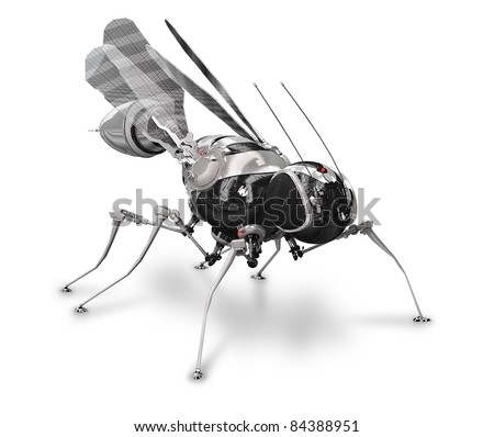 Cyber fly-mosquito front - stock photo
