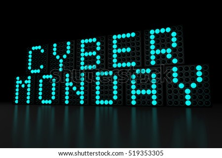 Cyber Monday blue LED display on dark background 3D render