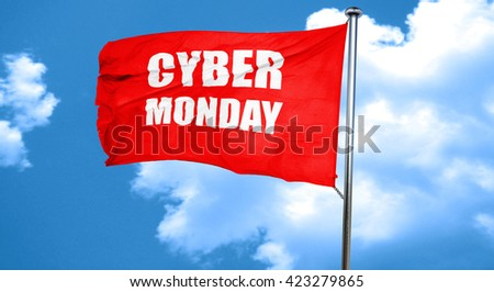 cyber monday, 3D rendering, a red waving flag - stock photo