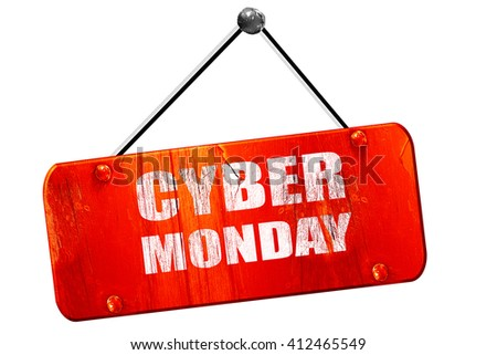 cyber monday, 3D rendering, vintage old red sign - stock photo