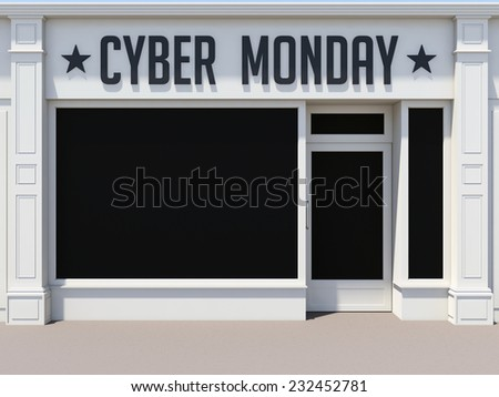 Cyber Monday in the shoping center. White store facade. - stock photo