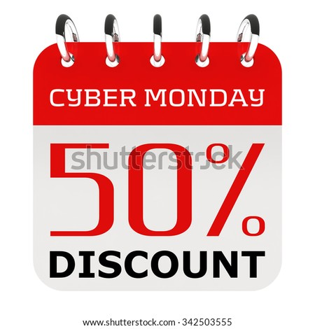 Cyber Monday 50 percent off discount - stock photo