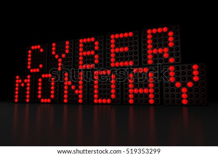 Cyber Monday red LED display on dark background 3D render