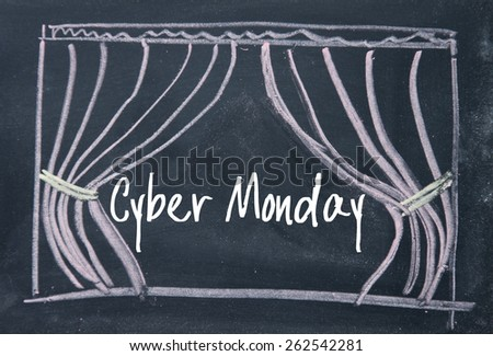 cyber monday text and curtain background