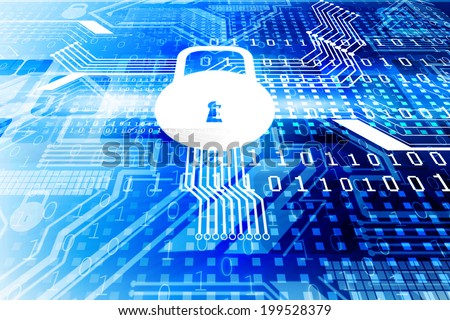 Cyber security concept, circuit board with Closed Padlock	 - stock photo