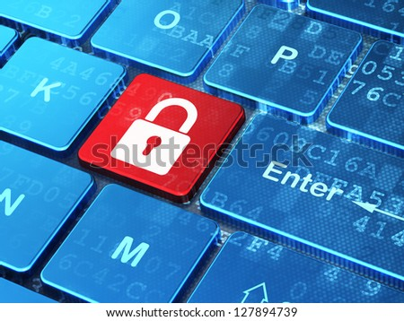 Cyber security concept: keyboard button with Closed Padlock icon with digital data background. Illustrates internet or network security idea. 3d render. - stock photo