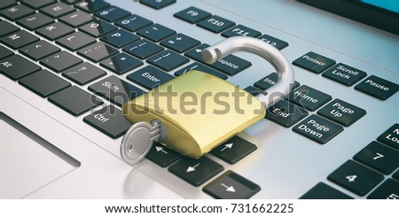 Cyber security concept. Unlocked padlock on a laptop. 3d illustration