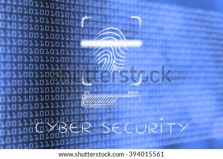 cyber security: fingerprint scan in progress, with glow effect and loading bar - stock photo