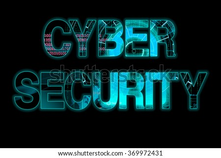 cyber security laser writing on a black background - stock photo