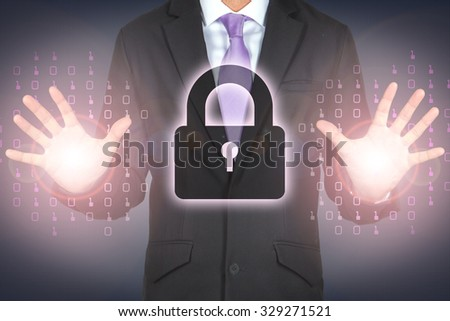 Cyber security protection data business conceptual computer hacker digital network privacy lock - stock photo