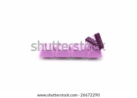 Cyber sex metaphor: circuit sex over pink keyboard keys - stock photo