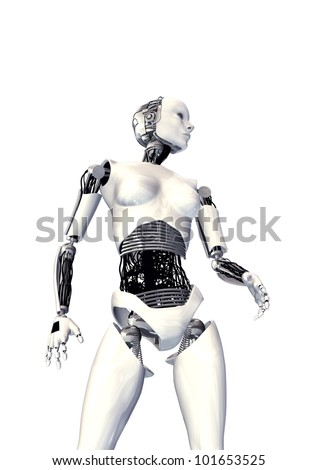 cyber woman isolated - stock photo