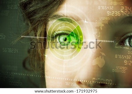 Cyber woman with modern military target eye concept - stock photo