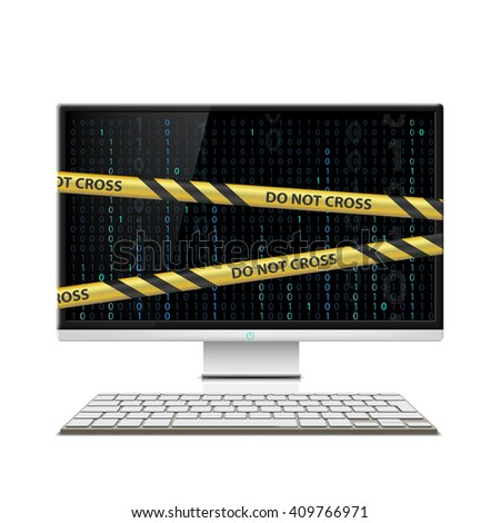 Cybercrime. Computer monitor with warning tape.  - stock photo