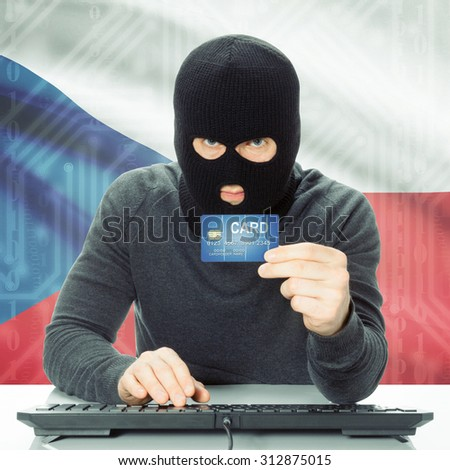 Cybercrime concept with flag on background - Czech Republic