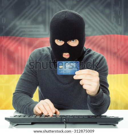 Cybercrime concept with flag on background - Germany