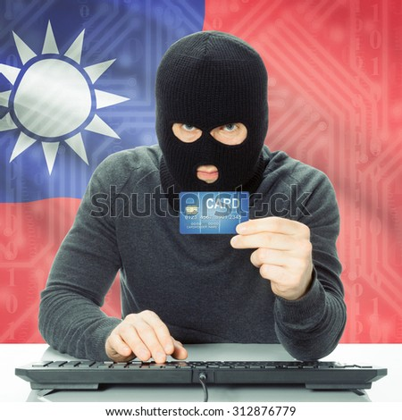 Cybercrime concept with flag on background - Taiwan