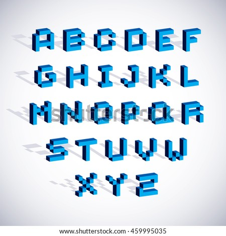 Cybernetic 3d alphabet letters, pixel art digital typescript. Pixel design elements, contemporary dotted font made in technology style.