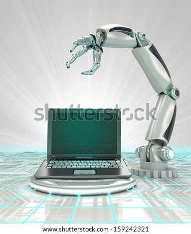 cybernetic robotic hand creation of modern personal computer render illustration - stock photo