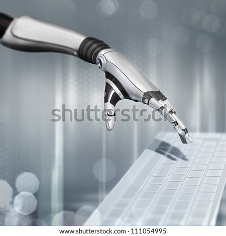 cybernetic scene on abstract background sci-fi robot hand working with keyboard - stock photo