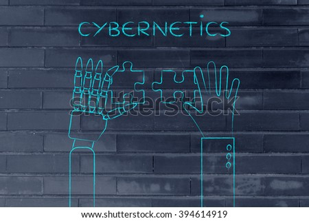 cybernetics: human and robot hands solving a puzzle