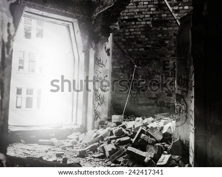 Cyberpunk inside buildings ruins drawing - stock photo
