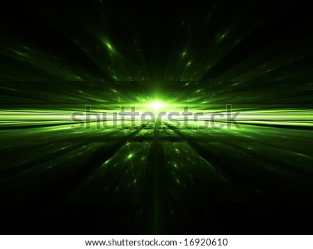 CyberSpace-Time - 3D Fractal Illustration - stock photo