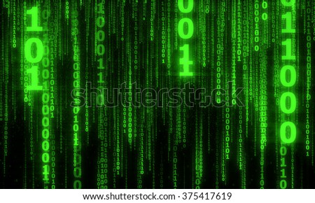 cyberspace with green digital falling lines, binary hanging chain, abstract background