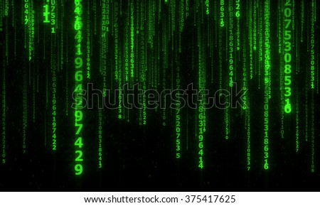 cyberspace with green falling digital lines, abstract background