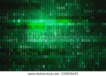 Cyberspace with hexadecimal code as digital matrix background for computer encryption - stock photo