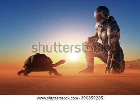 Cyborg and the turtle on the sand. - stock photo