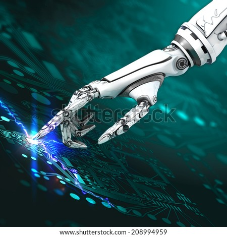 Cyborg arm working with virtual interface on circuit board  - stock photo